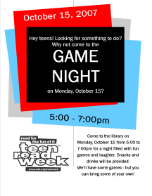 Teen Read Week Game Night