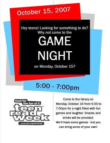 Teen Read Week Game Night