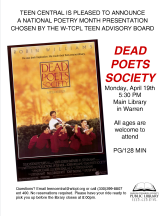 Dead Poet's Society Movie Night in celebration of National Poetry Month