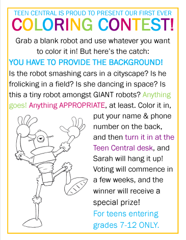 Teen Central Coloring Contest