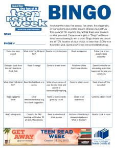 Teen Read Week Bingo