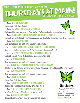 Thursdays at Main: Spring 2015