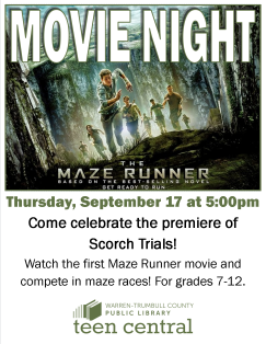 Maze Runner Movie Night to celebrate the premiere of Scorch Trials movie