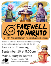 Farewell to Naruto & Fifth Annual Ramen Noodle Eating Contest