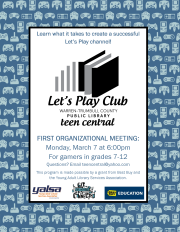 Let's Play Club Organizational Meeting