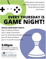 Games Nights Summer 2016