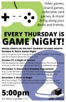 Game Nights Fall 2016